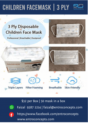 3 Ply Disposable Children Face Mask cover